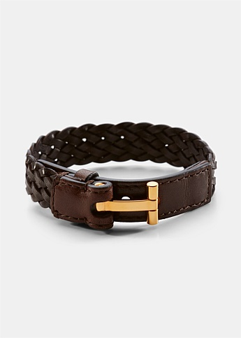 T Woven Leather Bracelet