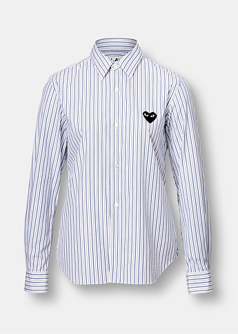 Striped Embroidered Heart Cotton Shirt