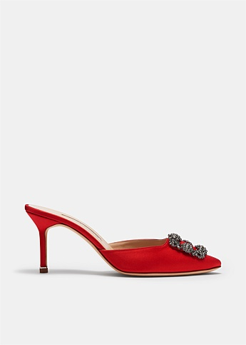 Hangisimu Red Satin Jewel Buckle Mules