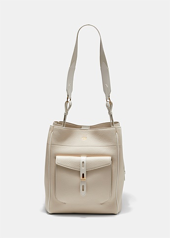 Grained Leather T-Twist Hobo Bag