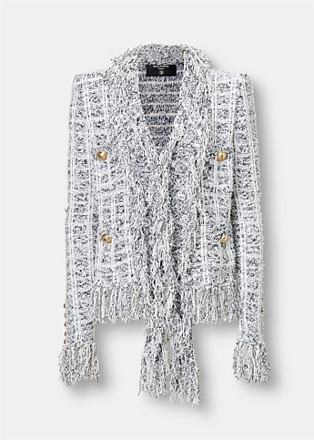 Double-Breasted Fringed Tweed Jacket